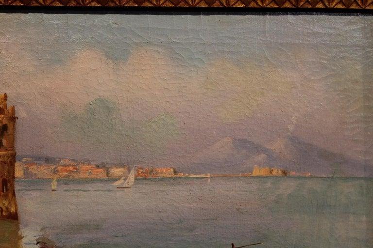 Oscar Ricciardi, Italian 19th Century Oil on Canvas Marine Landscape Painting  For Sale 14