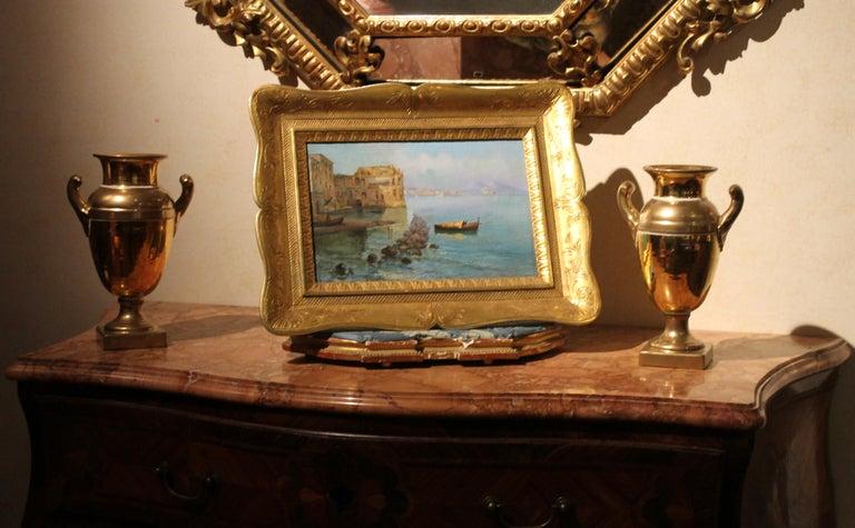 Hand-Carved Oscar Ricciardi, Italian 19th Century Oil on Canvas Marine Landscape Painting  For Sale