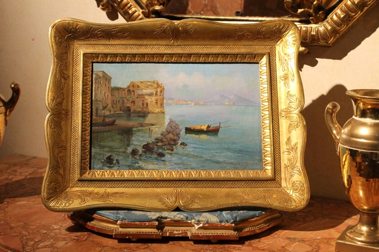 Oscar Ricciardi, Italian 19th Century Oil on Canvas Marine Landscape Painting  In Excellent Condition For Sale In Firenze, IT