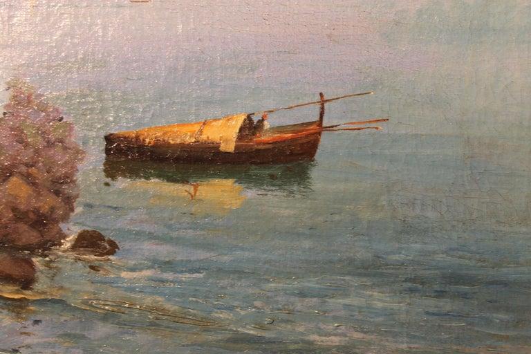 Oscar Ricciardi, Italian 19th Century Oil on Canvas Marine Landscape Painting  For Sale 1
