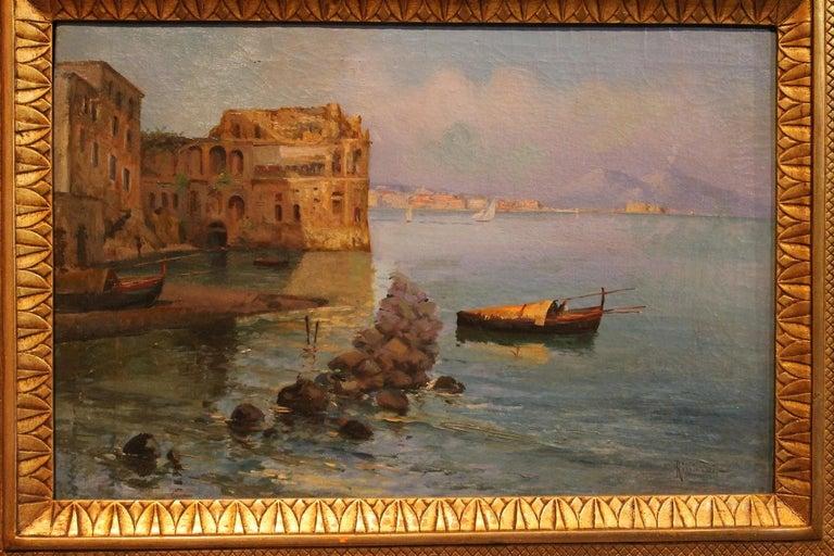 Oscar Ricciardi, Italian 19th Century Oil on Canvas Marine Landscape Painting  For Sale 4
