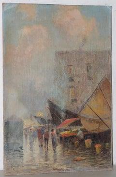 Oscar Ricciardi (Italian, 1864-1935)  Market Scene Oil Painting c.1920