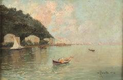 Neaples Marina - Original Oil on Canvas by Oscar Ricciardi - 1919
