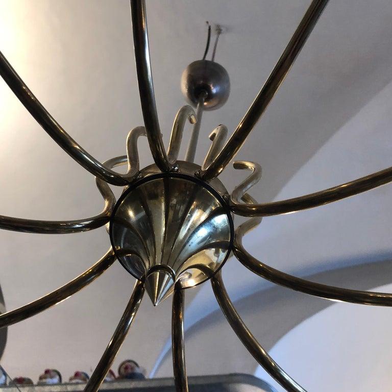 Oscar Torlasco Attributed Mid-Century Modern Brass Ten-Light Chandelier For Sale 9