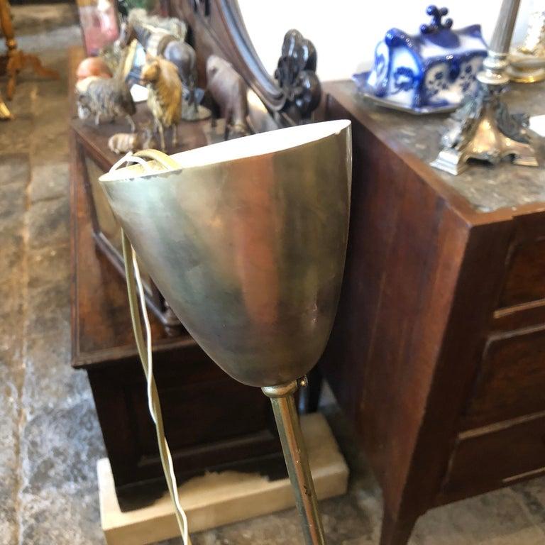 Oscar Torlasco Attributed Mid-Century Modern Brass Ten-Light Chandelier For Sale 2