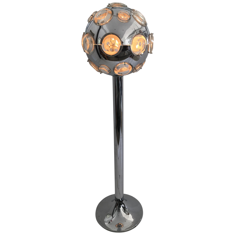 Oscar Torlasco Floor Lamp in Chromed Steel, Crystal