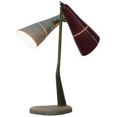 Oscar Torlasco for Lumen, Italy circa 1950, Double Headed Desk Lamp .