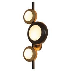 Oscar Torlasco for Lumi Milano Wall Lamp in Brass, Glass and Metal