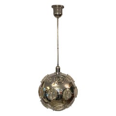 Oscar Torlasco for Lumi Steel and Oculus Glass Orb Chandelier, Italy, 1960s