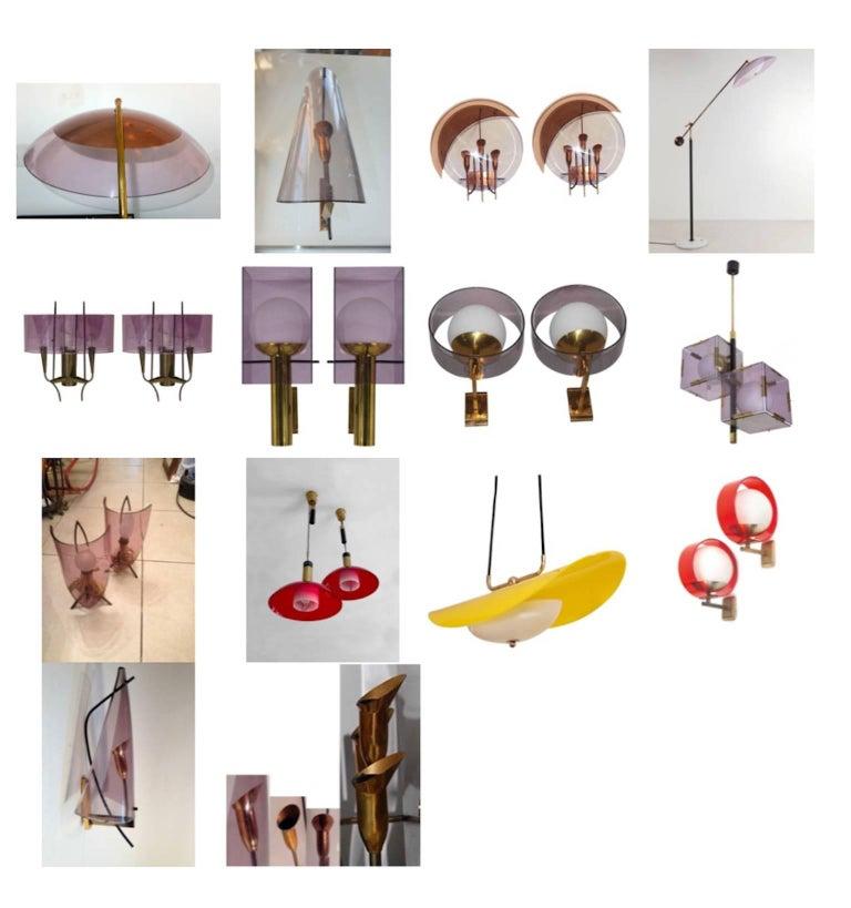 Mid-Century Modern Oscar Torlasco for Stilux Milano Pair of Sconces For Sale