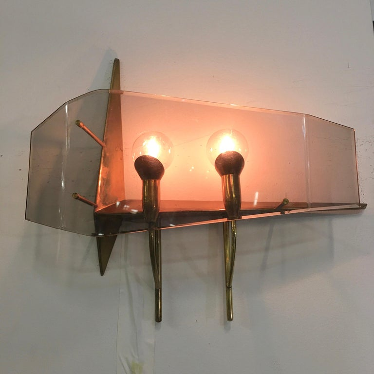 Oscar Torlasco for Stilux Milano Pair of Sconces In Good Condition For Sale In Hingham, MA
