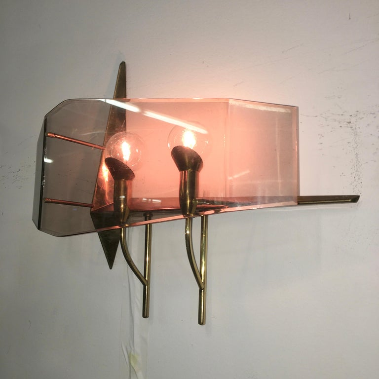 Mid-20th Century Oscar Torlasco for Stilux Milano Pair of Sconces For Sale