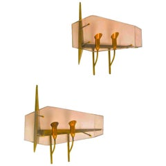 Oscar Torlasco for Stilux Milano Pair of Sconces
