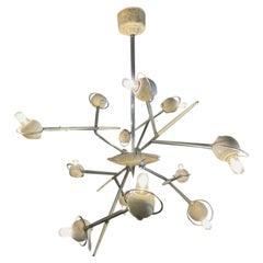 Oscar Torlasco Lumi Cosmo Chandelier Chromed Brass Lacquered Aluminum Italy 1960