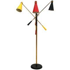 Oscar Torlasco Mid-Century Modern Brass Italian Floor Lamp