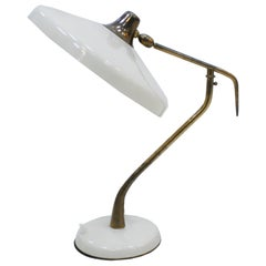 Oscar Torlasco Mid-Century Modern Steel and Brass White Italian Table Lamp