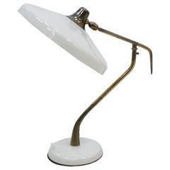 Oscar Torlasco Mid-Century Modern Steel and Brass White Italian Table Lamp