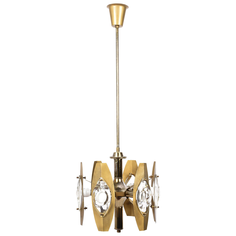 Oscar Torlasco Midcentury Glass and Gilded Brass Italian Chandelier, 1960s