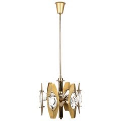 Oscar Torlasco Midcentury Glass and Gilded Brass Italian Chandelier, 1960s