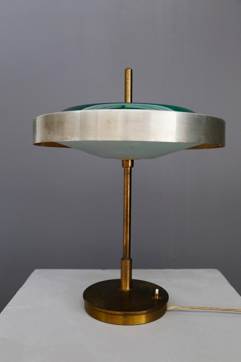 Mid-Century Modern Oscar Torlasco Midcentury Table Lamp in Brass and Cased Glass by Lumi 1950s For Sale