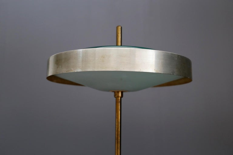 Italian Oscar Torlasco Midcentury Table Lamp in Brass and Cased Glass by Lumi 1950s For Sale