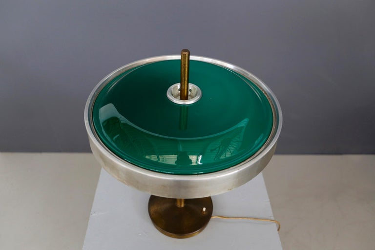 Oscar Torlasco Midcentury Table Lamp in Brass and Cased Glass by Lumi 1950s For Sale 2
