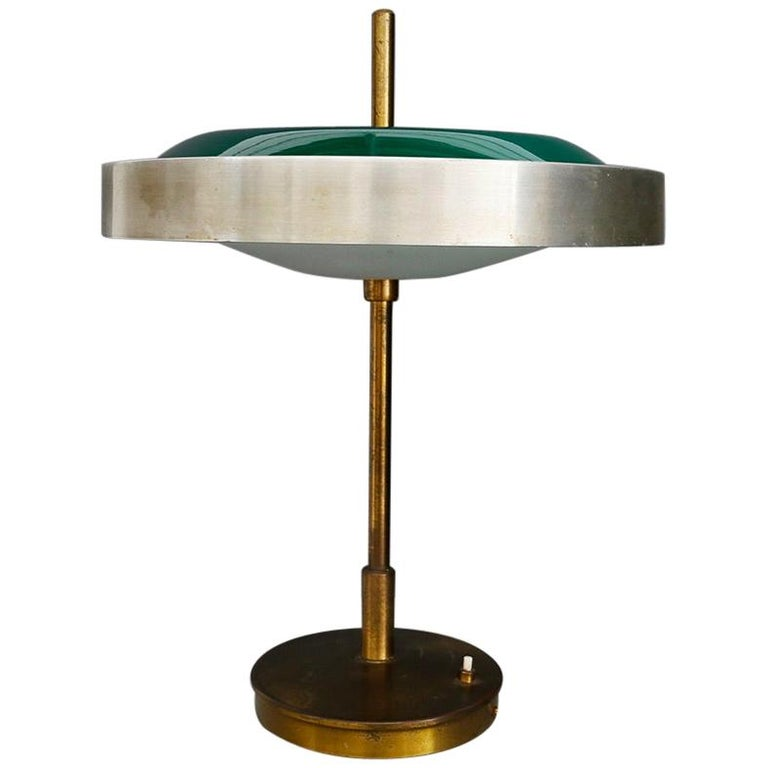 Oscar Torlasco Midcentury Table Lamp in Brass and Cased Glass by Lumi 1950s For Sale