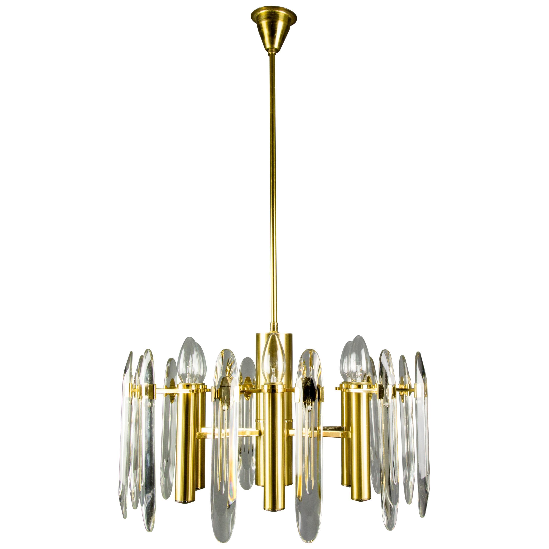 Oscar Torlasco Six-Light Brass and Glass Chandelier for Stilkronen, 1960s