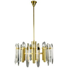 Oscar Torlasco Six-Light Brass and Glass Chandelier for Stilkronen, 1960s