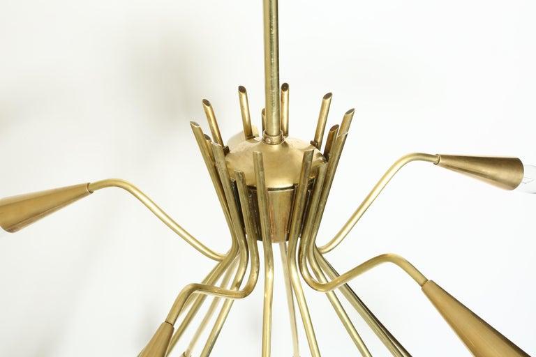 Sputnik Oscar Torlasco Style Brass Chandelier For Sale 4