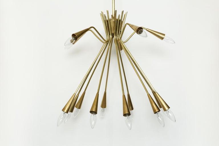 Mid-Century Modern Sputnik Oscar Torlasco Style Brass Chandelier For Sale