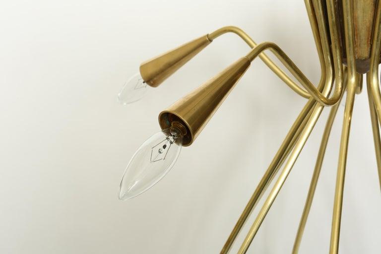 Italian Sputnik Oscar Torlasco Style Brass Chandelier For Sale
