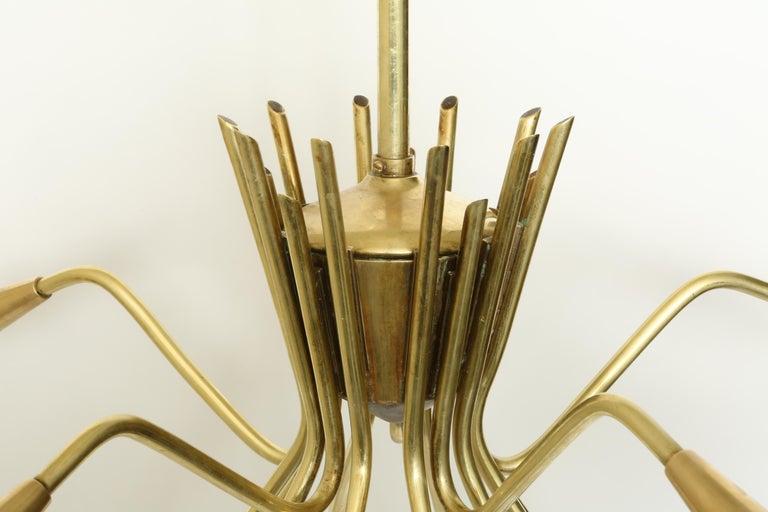 Sputnik Oscar Torlasco Style Brass Chandelier For Sale 1