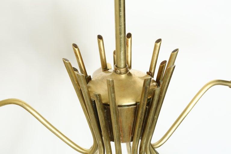 Sputnik Oscar Torlasco Style Brass Chandelier For Sale 2