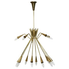 Sputnik Oscar Torlasco Style Brass Chandelier