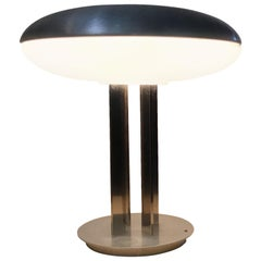 Oscar Torlasco Table Lamp Chromed Metal and Glass, 1950