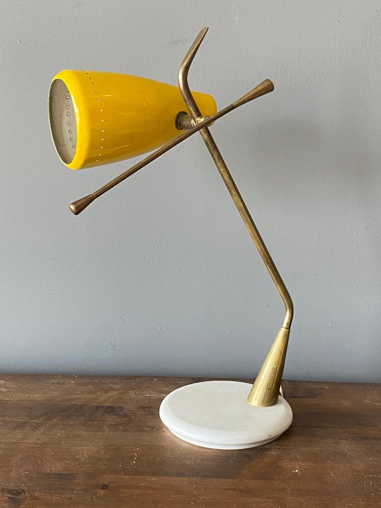 Oscar Torlasco, Table Lamp, Lacquered Metal, Brass, Marble, Lumen Milano, 1950s In Good Condition For Sale In West Palm Beach, FL