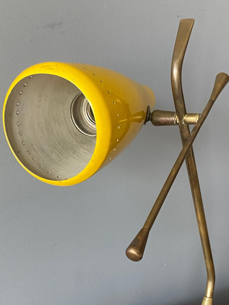 Mid-20th Century Oscar Torlasco, Table Lamp, Lacquered Metal, Brass, Marble, Lumen Milano, 1950s For Sale