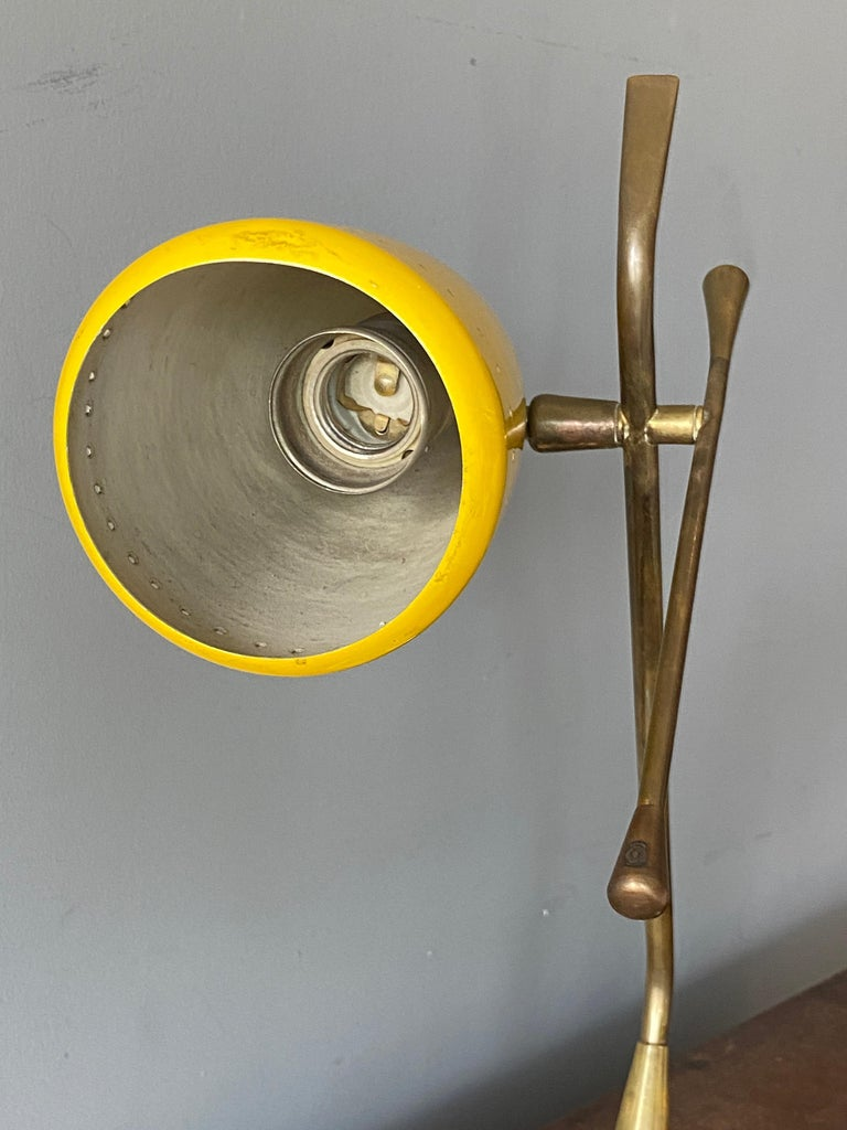 Oscar Torlasco, Table Lamp, Lacquered Metal, Brass, Marble, Lumen Milano, 1950s For Sale 1
