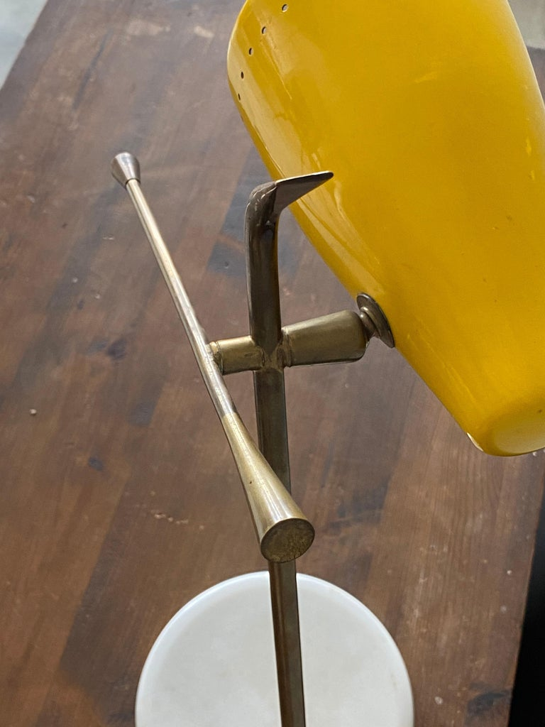 Oscar Torlasco, Table Lamp, Lacquered Metal, Brass, Marble, Lumen Milano, 1950s For Sale 3