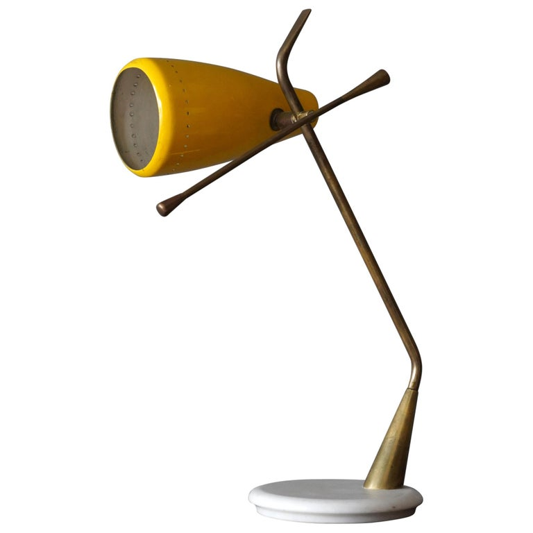Oscar Torlasco, Table Lamp, Lacquered Metal, Brass, Marble, Lumen Milano, 1950s For Sale