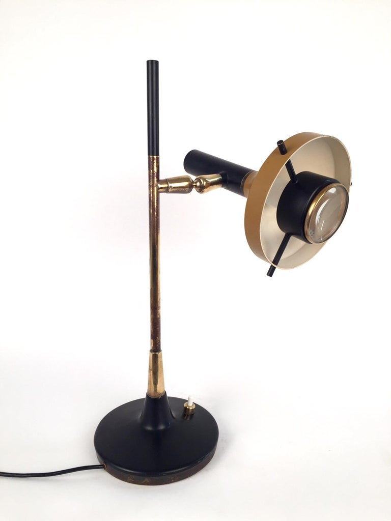 Metal Oscar Torlasco Table Lamp, Model 553 for Lumi, 1950s For Sale
