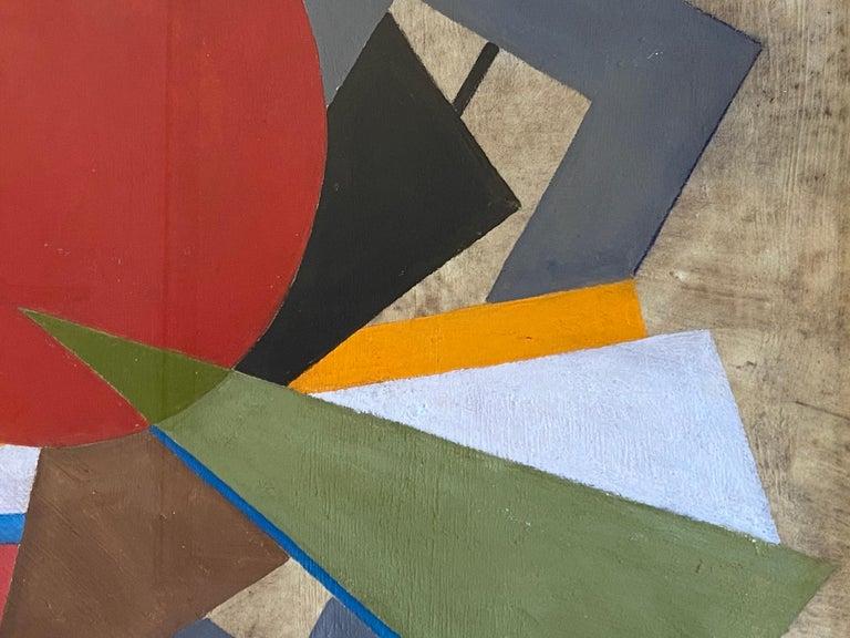 Mid-Century Modern Oscar Troneck Constructivism Oil on Canvas For Sale