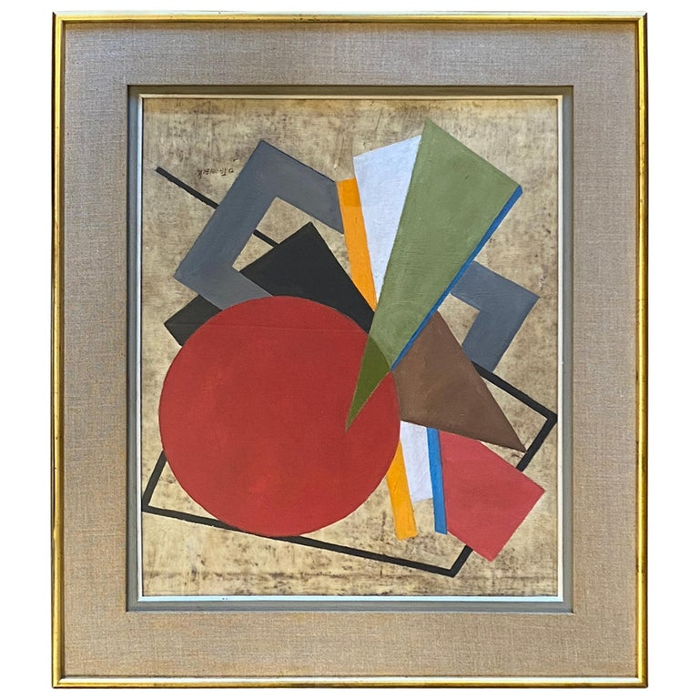 Oscar Troneck Constructivism Oil on Canvas For Sale