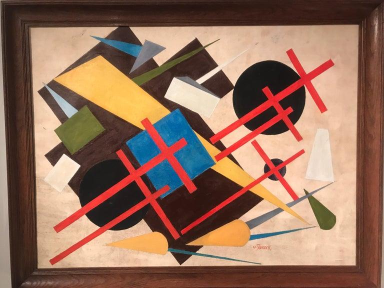 Mid-Century Modern Oscar Troneck Oil on Canvas For Sale