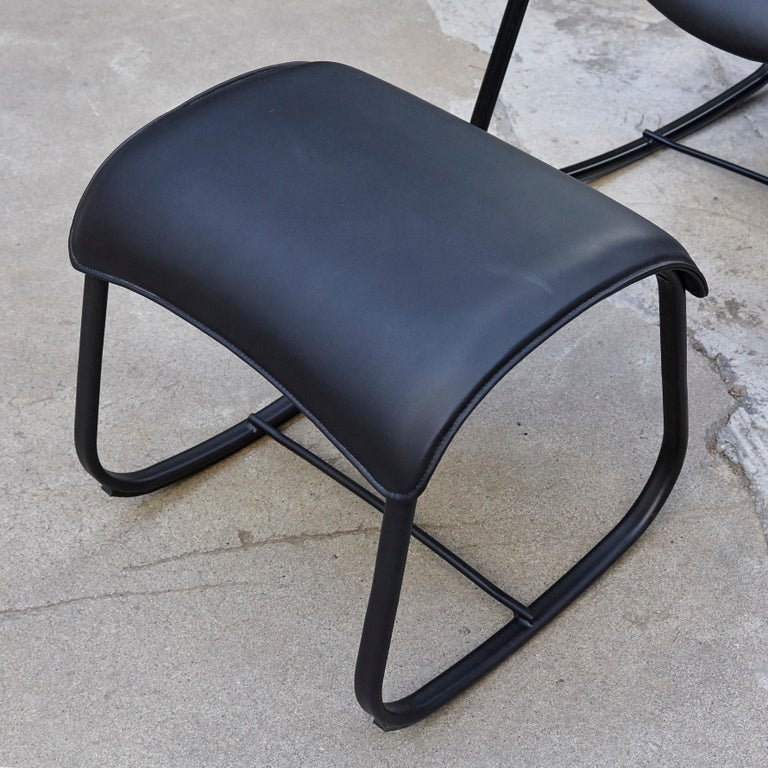 Oscar Tusquets Black Bavarius Rocking Chair and Stool by BD Barcelona For Sale 9