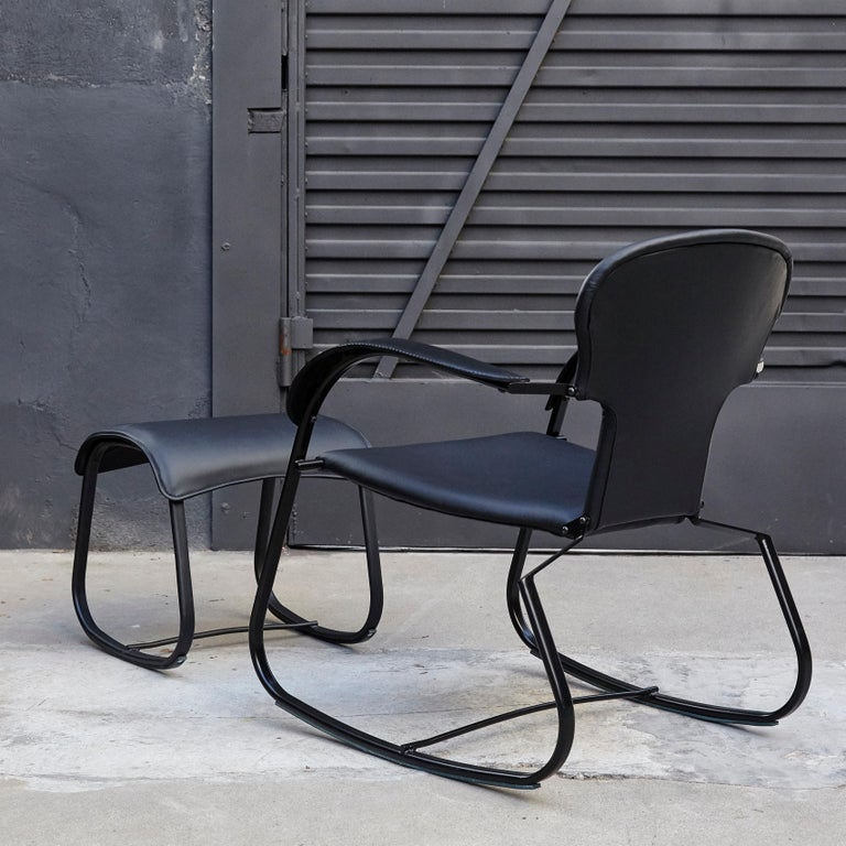 Modern Oscar Tusquets Black Bavarius Rocking Chair and Stool by BD Barcelona For Sale