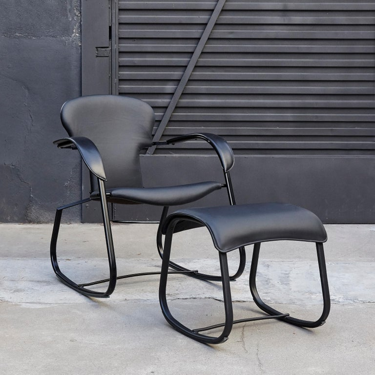 Spanish Oscar Tusquets Black Bavarius Rocking Chair and Stool by BD Barcelona For Sale