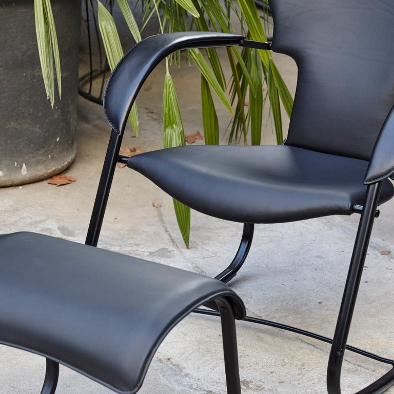 Metal Oscar Tusquets Black Bavarius Rocking Chair and Stool by BD Barcelona For Sale