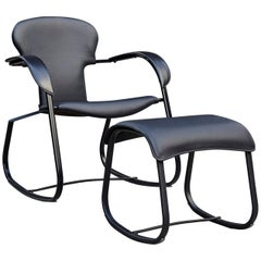 Oscar Tusquets Black Bavarius Rocking Chair and Stool by BD Barcelona